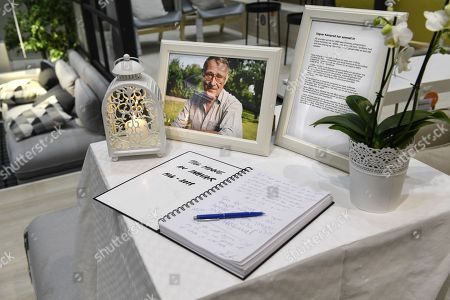 A photo of  Ingvar Kamprad, founder of Swedish multinational furniture retailer IKEA, and a book of condolences are placed at the entrance of an IKEA store in Stockholm, Sweden, 28 January 2018. Ingvar Kamprad has died at the age of 91.