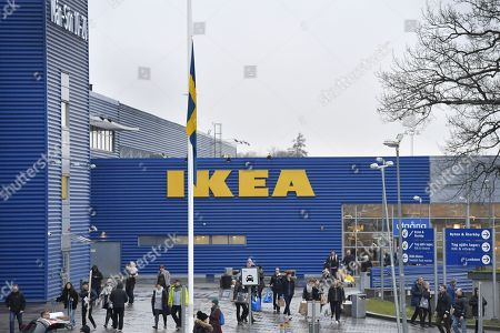 A Swedish flag flies at half mast outside an IKEA store in Stockholm, Sweden, 28 January 2018. Ingvar Kamprad, the founder of Swedish multinational furniture retailer IKEA has died at the age of 91.