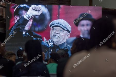 A picture of late South African musician Hugh Masekela is projected onto a screen during the official memorial for him in Johannesburg, South Africa, 28 January 2018. Friends and family  gathered to honour the legendary musician who died on 23 January after a long battle with prostate cancer.