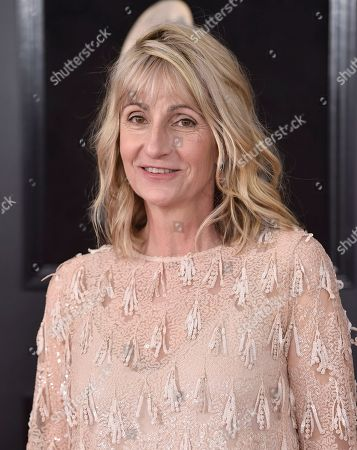 Fritzi Horstman arrives at the 60th annual Grammy Awards at Madison Square Garden, in New York