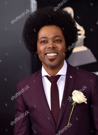 Alex Cuba arrives at the 60th annual Grammy Awards at Madison Square Garden, in New York