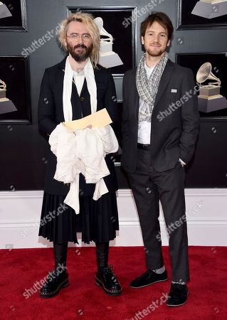 Shawn Everett, Blake Mills. Shawn Everett, left, and Blake Mills arrive at the 60th annual Grammy Awards at Madison Square Garden, in New York