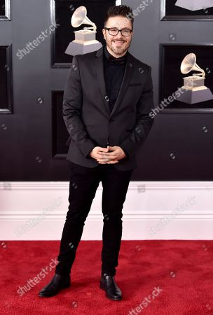 Danny Gokey arrives at the 60th annual Grammy Awards at Madison Square Garden, in New York
