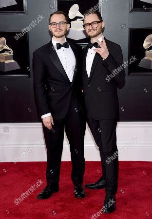 Stock Photo of Pascal Le Boeuf, Remy LeBoeuf. Pascal Le Boeuf, and Remy LeBoeuf arrive at the 60th annual Grammy Awards at Madison Square Garden, in New York
