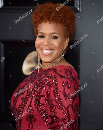 Tina Campbell arrives at the 60th annual Grammy Awards at Madison Square Garden, in New York