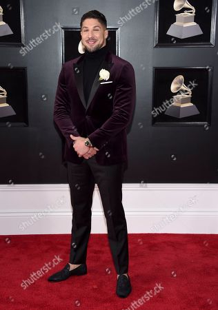 Brendan Schaub arrives at the 60th annual Grammy Awards at Madison Square Garden, in New York