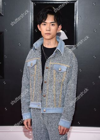 Jackson Yee arrives at the 60th annual Grammy Awards at Madison Square Garden, in New York