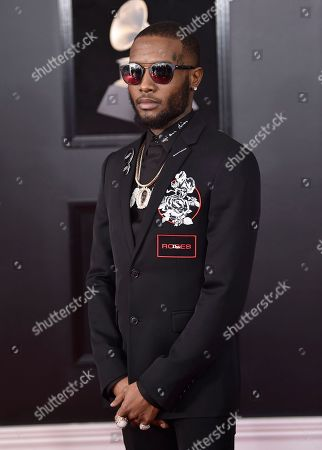 Stock Picture of Shy Glizzy arrives at the 60th annual Grammy Awards at Madison Square Garden, in New York