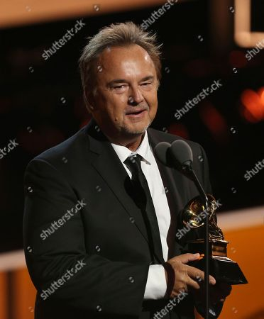 """Stock Photo of Peter Kater accepts the best new age album award for """"Dancing On Water"""" at the 60th annual Grammy Awards at Madison Square Garden, in New York"""