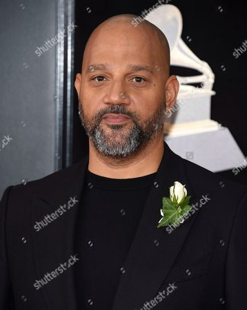 Allen Hughes arrives at the 60th annual Grammy Awards at Madison Square Garden, in New York