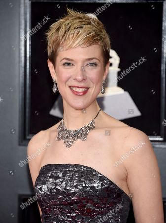 Stock Picture of Sara Caswell arrives at the 60th annual Grammy Awards at Madison Square Garden, in New York