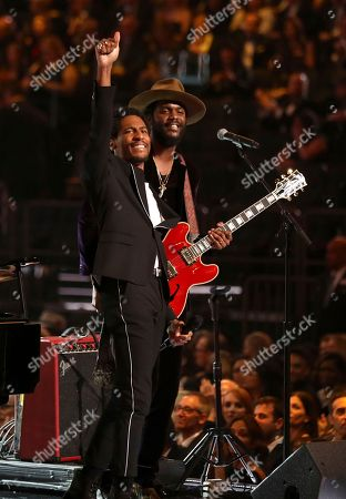 Jon Batiste, Gary Clark Jr. Jon Batiste, left, and Gary Clark Jr. perform a tribute to Chuck Berry and Fats Domino at the 60th annual Grammy Awards at Madison Square Garden, in New York