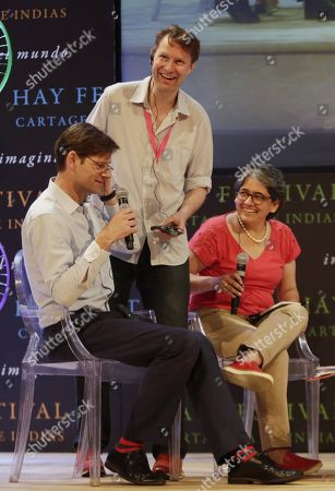 Financial Times Weekend's editor Alec Russel (L), The Guardian's correspondent Luke Harding (C) and National Radio Network (RCN)  morning news director Yolanda Ruiz speak during the final day of the Hay Festival in Cartagena, Colombia, 28 January 2018. The Hay Festival of Literature and Arts is a festival held annually as a meeting between writers, musicians, filmmakers, scientists and other personalities.