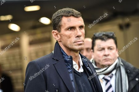 Girondins de Bordeaux coach Gustavo Poyet urinf the Girondins de Bordeaux versus Olympic Lyonnais ligue 1 football game in Bordeaux's Matmut Atlantique stadium.//AMEZUGO_074/Credit:UGO AMEZ/SIPA/1801282050