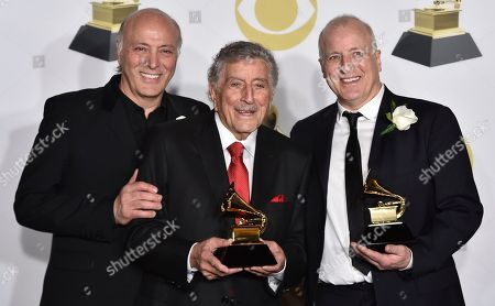 Danny Bennett, Tony Bennett, Das Bennett. Danny Bennett, left, Tony Bennett and Das Bennett pose with the best traditional pop vocal album award in the press room at the 60th annual Grammy Awards at Madison Square Garden, in New York