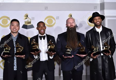 "Jonathan Yip, Romulus, Jeremy Reeves, Ray Charles McCullough II, The Stereotypes. Jonathan Yip, left, Ray Romulus, Jeremy Reeves and Ray Charles McCullough II, of The Stereotypes, pose with the best R&B song and song of the year awards for ""That's What I Like"" in the press room at the 60th annual Grammy Awards at Madison Square Garden, in New York"