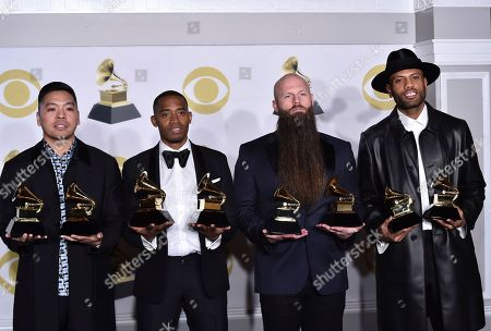 "Stock Picture of Jonathan Yip, Romulus, Jeremy Reeves, Ray Charles McCullough II, The Stereotypes. Jonathan Yip, left, Ray Romulus, Jeremy Reeves and Ray Charles McCullough II, of The Stereotypes, pose with the best R&B song and song of the year awards for ""That's What I Like"" in the press room at the 60th annual Grammy Awards at Madison Square Garden, in New York"
