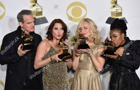 """Michael Park, Jennifer Laura Thompson, Rachel Bay Jones, Kristolyn Lloyd. Michael Park, from left, Jennifer Laura Thompson, Rachel Bay Jones and Kristolyn Lloyd pose with the best musical theater album award for """"Dear Evan Hansen"""" in the press room at the 60th annual Grammy Awards at Madison Square Garden, in New York"""