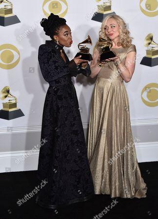 "Kristolyn Lloyd, Rachel Bay Jones. Kristolyn Lloyd, left, and Rachel Bay Jones pose with the best musical theater album award for ""Dear Evan Hansen"" in the press room at the 60th annual Grammy Awards at Madison Square Garden, in New York"