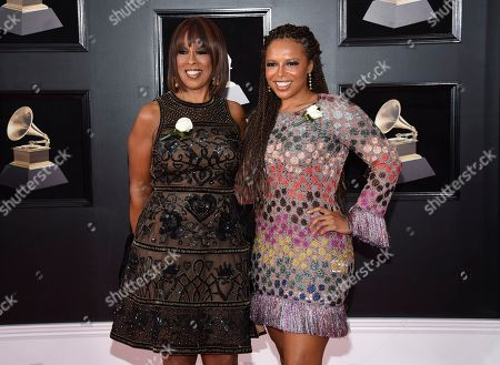 Stock Photo of Gayle King, Kirby Bumpus. Gayle King, left, and Kirby Bumpus arrive at the 60th annual Grammy Awards at Madison Square Garden, in New York