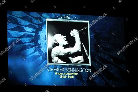 Singer Chester Bennington appears on screen during an In Memoriam tribute at the 60th annual Grammy Awards at Madison Square Garden, in New York