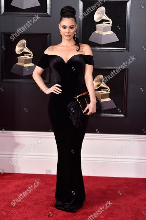Anabelle Acosta arrives at the 60th annual Grammy Awards at Madison Square Garden, in New York