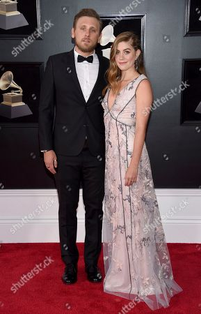 Stock Image of James Adam Shelley, Laura Dreyfuss. James Adam Shelley, left, and Laura Dreyfuss arrive at the 60th annual Grammy Awards at Madison Square Garden, in New York
