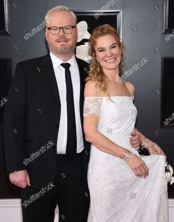 Jim Gaffigan, Jeannie Gaffigan. Jim Gaffigan, left, and Jeannie Gaffigan arrive at the 60th annual Grammy Awards at Madison Square Garden, in New York