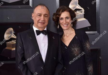 Stock Photo of Len Blavatnik, Emily Appelson. Len Blavatnik, left, and Emily Appelson arrive at the 60th annual Grammy Awards at Madison Square Garden, in New York