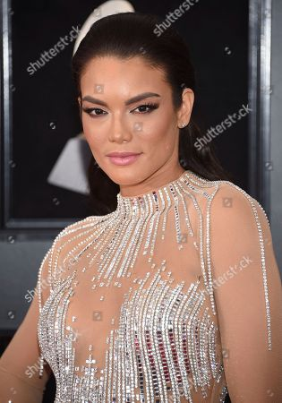 Zuleyka Rivera arrives at the 60th annual Grammy Awards at Madison Square Garden, in New York