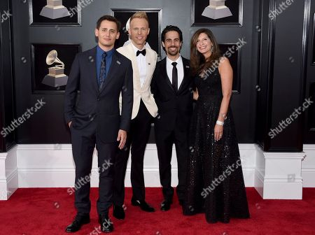 """Benj Pasek, Justin Paul, Alex Lacamoire, Stacey Mindich. From left, Benj Pasek, Justin Paul, Alex Lacamoire and Stacey Mindich, of """"Dear Evan Hansen,"""" arrive at the 60th annual Grammy Awards at Madison Square Garden, in New York"""