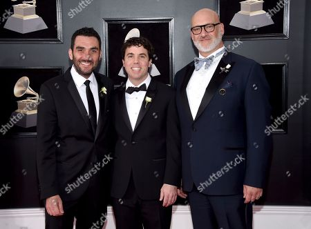 Stock Picture of Lawrence Azerrad, Timothy Daly, David Pescovitz. Lawrence Azerrad, left, Timothy Daly, center, and David Pescovitz arrive at the 60th annual Grammy Awards at Madison Square Garden, in New York