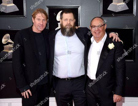 "Eric Eisner, Nick Koskoff, Alex Blavatnik. From left, Eric Eisner, Nick Koskoff and Alex Blavatnik, of ""Long Strange Trip"", arrive at the 60th annual Grammy Awards at Madison Square Garden, in New York"