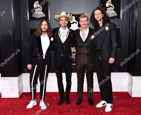 David Antonsson, JJ Julius Son, Rubin Pollock. David Antonsson, left, JJ Julius Son, Daniel Kristjansson, and Rubin Pollock of Kaleo arrive at the 60th annual Grammy Awards at Madison Square Garden, in New York
