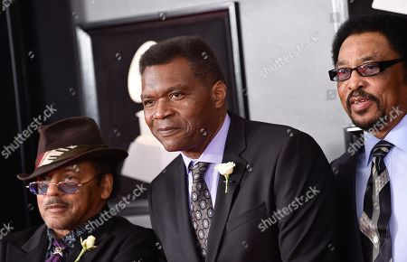 Stock Photo of Robert Cray, center, arrives at the 60th annual Grammy Awards at Madison Square Garden, in New York