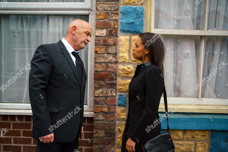 Stock Image of Ep 9368 Wednesday 31 January 2018 - 2nd Ep Steph Britton, as played by Tisha Merry, calls Phelan, as played by Connor McIntyre, an evil liar and accuses him of blackmailing Andy into burning down the garage.
