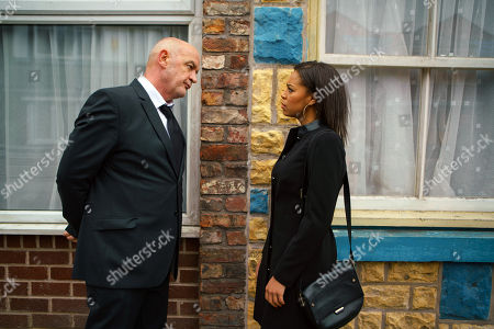 Ep 9368 Wednesday 31 January 2018 - 2nd Ep Steph Britton, as played by Tisha Merry, calls Phelan, as played by Connor McIntyre, an evil liar and accuses him of blackmailing Andy into burning down the garage.