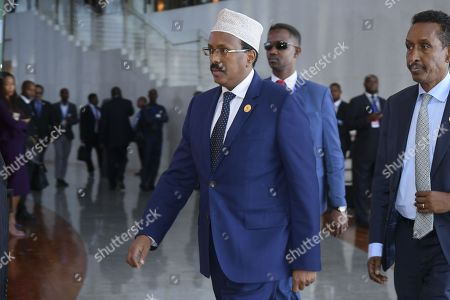 President of Somalia Mohamed Abdullahi 'Farmajo' Mohamed arrives at the 30th Ordinary Session of the African Union (AU) Summit in Addis Ababa, Ethiopia, 29 January 2018. President of Rwanda Paul Kagame has officially taken over as the new Chairman of the African Union on 29 January. African leaders and the United Nations Secretary-General Antonio Guterres will discuss politcal and security issues under the theme 'Winning the Fight against Corruption: A Sustainable Path to Africa's Transformation'.