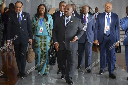 President of Gabon Ali Bongo (C) arrives at the 30th Ordinary Session of the African Union (AU) Summit in Addis Ababa, Ethiopia, 29 January 2018. President of Rwanda Paul Kagame has officially taken over as the new Chairman of the African Union on 29 January. African leaders and the United Nations Secretary-General Antonio Guterres will discuss politcal and security issues under the theme 'Winning the Fight against Corruption: A Sustainable Path to Africa's Transformation'.