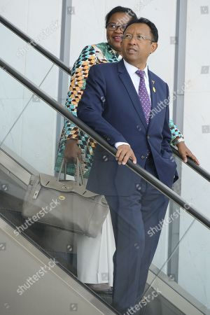 Stock Photo of President of Madagascar Hery Rajaonarimampianina arrives at the 30th Ordinary Session of the African Union (AU) Summit in Addis Ababa, Ethiopia, 29 January 2018. President of Rwanda Paul Kagame has officially taken over as the new Chairman of the African Union on 29 January. African leaders and the United Nations Secretary-General Antonio Guterres will discuss politcal and security issues under the theme 'Winning the Fight against Corruption: A Sustainable Path to Africa's Transformation'.