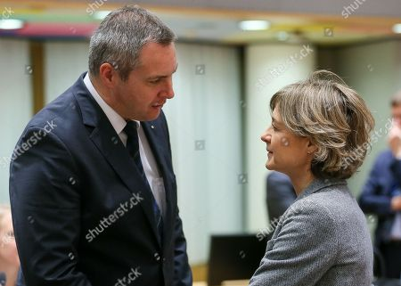 Minister of Agriculture and the Environment of Slovenia Dejan Zidan (L) and Spanish Agriculture Minister Isabel Garcia Tejerina during the European Agriculture and Fisheries Ministers Council at the European Council, in Brussels, Belgium, 29 January 2018.