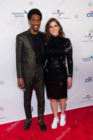 Jon Batiste, Suleika Jaouad. Recoriding Artist Jon Batiste and Writer Suleika Jaouad attend the Universal Music Group's Grammy after party at Spring Studios, in New York