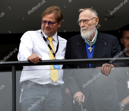 Ingvar Kamprad and his youngest son Mattias Kamprad, Inauguration of the IKEA museum in Älmhult, Småland, Sweden in June 2016