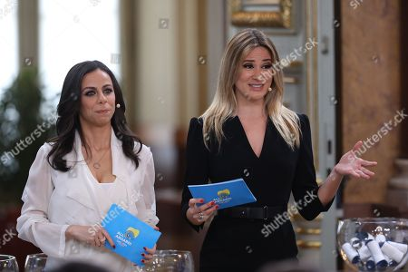 """Portuguese television presenter Filomena Cautela (L) and Silvia Alberto (R) during the Semi-Final Allocation Draw Semi-Finals of the Eurovision Song Contest 2018, at the City Hall of Lisbon, Portugal, 29 of January 2018. During the Semi-Final Allocation Draw, the countries that will take part in the Semi-Finals are divided into pots, based on historic voting patterns. In this way, countries that traditionally award each other points are less likely to end up in the same Semi-Final, adding excitement to the shows. The pots are approved by the contest's Executive Supervisor on behalf of the European Broadcasting Union (EBU) and the Chairman of the Reference Group, the contest's governing body on behalf of all Participating Broadcasters. Eurovision Song Contest 2018 will take place in Lisbon in May 2018. Portugal participated in has winner of the Eurovision Song Contest 2017 contest in Kiev, Ukraine, with the song """"Amar pelos dois"""", written by Luisa Sobral and performed by her brother Salvador Sobral."""