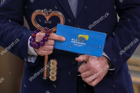 """The Mayor of Kiev Vitali Klitschko holds the Host City Insignia before the handover to his Lisbon counterpart Fernando Medina during the Semi-Final Allocation Draw Semi-Finals of the Eurovision Song Contest 2018, at the City Hall of Lisbon, Portugal, 29 of January 2018. During the Semi-Final Allocation Draw, the countries that will take part in the Semi-Finals are divided into pots, based on historic voting patterns. In this way, countries that traditionally award each other points are less likely to end up in the same Semi-Final, adding excitement to the shows. The pots are approved by the contest's Executive Supervisor on behalf of the European Broadcasting Union (EBU) and the Chairman of the Reference Group, the contest's governing body on behalf of all Participating Broadcasters. Eurovision Song Contest 2018 will take place in Lisbon in May 2018. Portugal participated in has winner of the Eurovision Song Contest 2017 contest in Kiev, Ukraine, with the song """"Amar pelos dois"""", written by Luisa Sobral and performed by her brother Salvador Sobral."""