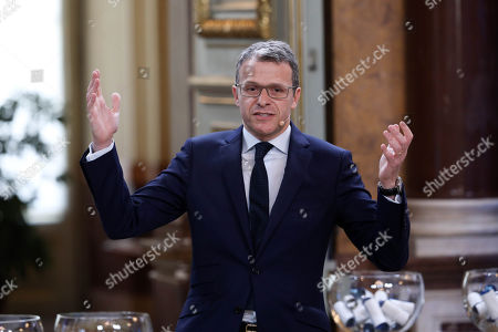 """Stock Photo of CEO of Radio Television of Portugal (RTP) Goncalo de Albuquerque Reis speaks during the Semi-Final Allocation Draw Semi-Finals of the Eurovision Song Contest 2018, at the City Hall of Lisbon, Portugal, 29 of January 2018. During the Semi-Final Allocation Draw, the countries that will take part in the Semi-Finals are divided into pots, based on historic voting patterns. In this way, countries that traditionally award each other points are less likely to end up in the same Semi-Final, adding excitement to the shows. The pots are approved by the contest's Executive Supervisor on behalf of the European Broadcasting Union (EBU) and the Chairman of the Reference Group, the contest's governing body on behalf of all Participating Broadcasters. Eurovision Song Contest 2018 will take place in Lisbon in May 2018. Portugal participated in has winner of the Eurovision Song Contest 2017 contest in Kiev, Ukraine, with the song """"Amar pelos dois"""", written by Luisa Sobral and performed by her brother Salvador Sobral."""