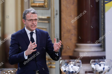 """Stock Image of CEO of Radio Television of Portugal (RTP) Goncalo de Albuquerque Reis speaks during the Semi-Final Allocation Draw Semi-Finals of the Eurovision Song Contest 2018, at the City Hall of Lisbon, Portugal, 29 of January 2018. During the Semi-Final Allocation Draw, the countries that will take part in the Semi-Finals are divided into pots, based on historic voting patterns. In this way, countries that traditionally award each other points are less likely to end up in the same Semi-Final, adding excitement to the shows. The pots are approved by the contest's Executive Supervisor on behalf of the European Broadcasting Union (EBU) and the Chairman of the Reference Group, the contest's governing body on behalf of all Participating Broadcasters. Eurovision Song Contest 2018 will take place in Lisbon in May 2018. Portugal participated in has winner of the Eurovision Song Contest 2017 contest in Kiev, Ukraine, with the song """"Amar pelos dois"""", written by Luisa Sobral and performed by her brother Salvador Sobral."""