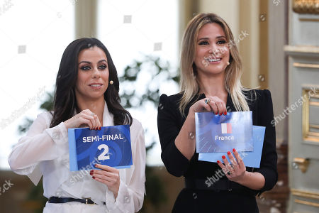 "Portuguese television presenter Filomena Cautela (L) and Silvia Alberto (R) during the Semi-Final Allocation Draw Semi-Finals of the Eurovision Song Contest 2018, at the City Hall of Lisbon, Portugal, 29 of January 2018. During the Semi-Final Allocation Draw, the countries that will take part in the Semi-Finals are divided into pots, based on historic voting patterns. In this way, countries that traditionally award each other points are less likely to end up in the same Semi-Final, adding excitement to the shows. The pots are approved by the contest's Executive Supervisor on behalf of the European Broadcasting Union (EBU) and the Chairman of the Reference Group, the contest's governing body on behalf of all Participating Broadcasters. Eurovision Song Contest 2018 will take place in Lisbon in May 2018. Portugal participated in has winner of the Eurovision Song Contest 2017 contest in Kiev, Ukraine, with the song ""Amar pelos dois"", written by Luisa Sobral and performed by her brother Salvador Sobral."
