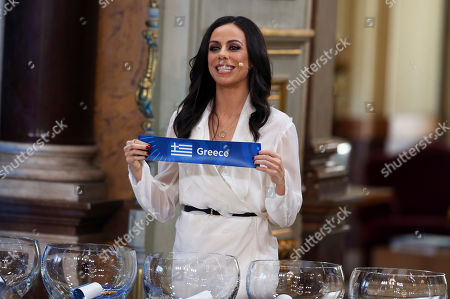 Presenter Filomena Cautela draws the Greece card during the Eurovision Song Contest semifinal allocation draw, at the Lisbon City Hall. The semifinal allocation draw determines which country will participate in which semifinal of the 2018 Eurovision Song Contest to be held in Lisbon in May 2018
