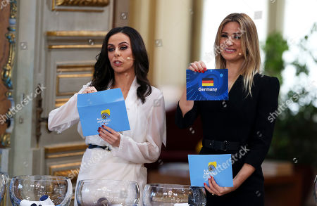 Presenters Filomena Cautela, left, and Silvia Alberto draw the Germany card during the Eurovision Song Contest semifinal allocation draw, at the Lisbon City Hall. The semifinal allocation draw determines which country will participate in which semifinal of the 2018 Eurovision Song Contest to be held in Lisbon in May 2018